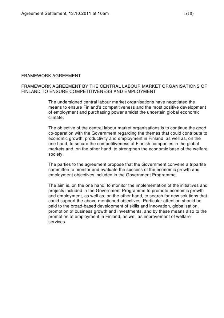 Agreement Settlement, 13.10.2011 at 10am                                        1(10)FRAMEWORK AGREEMENTFRAMEWORK AGREEMEN...
