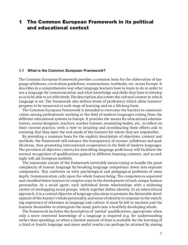 1 The Common European Framework in its political  and educational context1.1   What is the Common European Framework?The C...