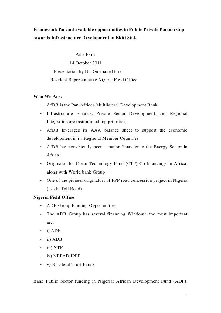 Framework for and available opportunities in Public Private Partnershiptowards Infrastructure Development in Ekiti State  ...
