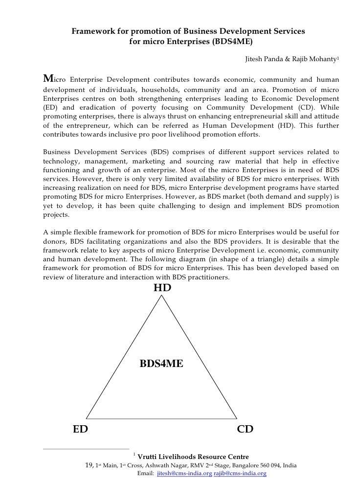 Framework for promotion of Business Development Services                      for micro Enterprises (BDS4ME)              ...
