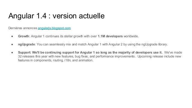 Angular 1.4 : version actuelle Dernières annonces angularjs.blogspot.com ● Growth: Angular 1 continues its stellar growth ...