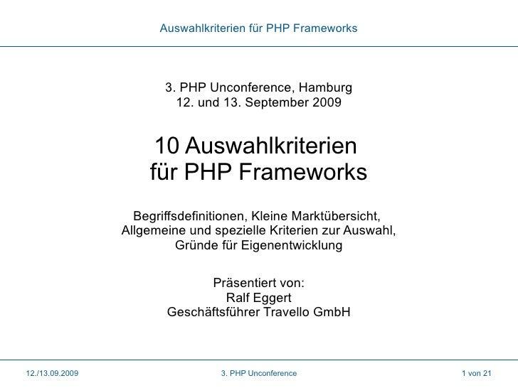 10 Auswahlkriterien für PHP Frameworks
