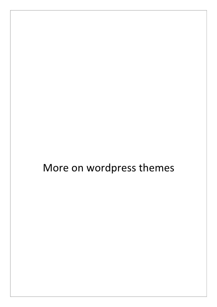 More on wordpress themes