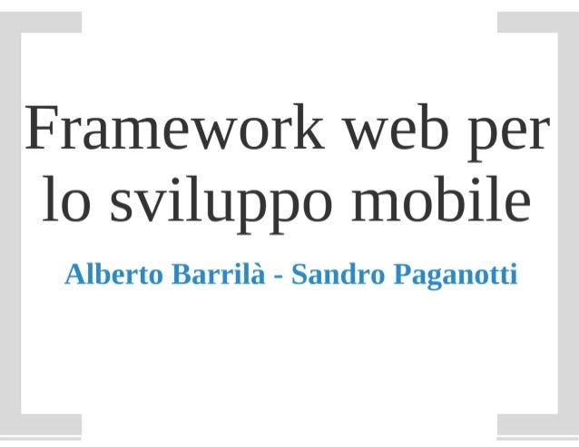 Framework web per lo sviluppo mobile