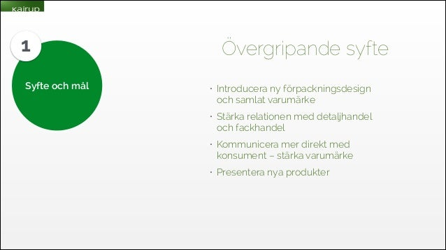 1 Syfte och mål  Övergripande syfte •  Introducera ny förpackningsdesign och samlat varumärke  •  Stärka relationen med de...
