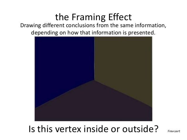 Drawing different conclusions from the same information, depending on how that information is presented. the Framing Effec...
