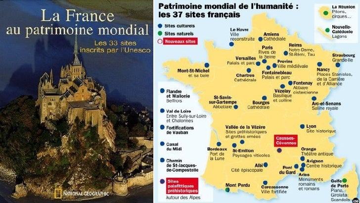 Les sites touristiques françaisrépertoriés au patrimoine mondial del'UNESCOL' United Nations Educational, Scientific and C...