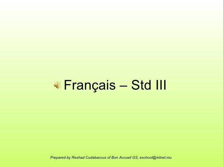 Français – Std III