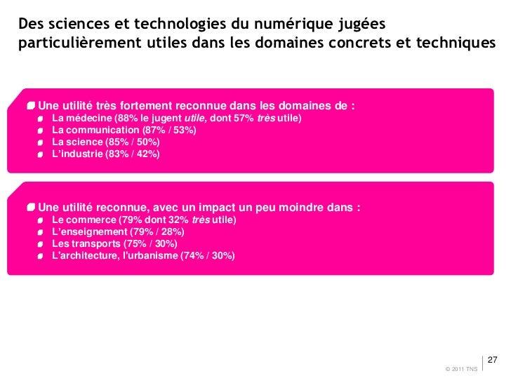 Des sciences et technologies du numérique jugéesparticulièrement utiles dans les domaines concrets et techniques  Une util...