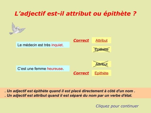 L'adjectif est-il attribut ou épithète ?                                       Correct      Attribut       Le médecin est ...