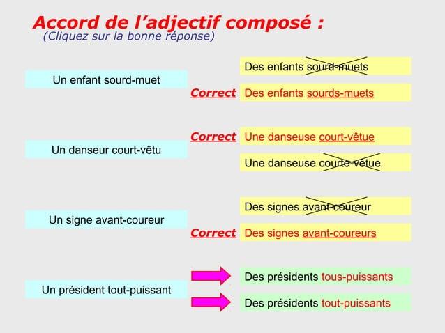 Accord de l'adjectif composé : (Cliquez sur la bonne réponse)                                      Des enfants sourd-muets...