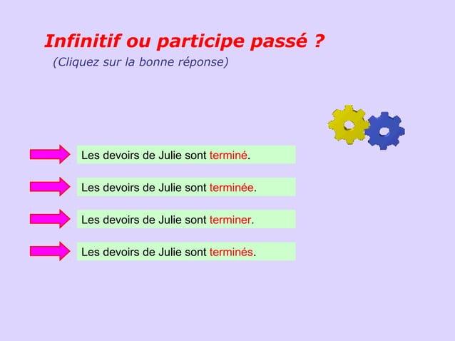 Infinitif ou participe passé ?(Cliquez sur la bonne réponse)    Les devoirs de Julie sont terminé.    Les devoirs de Julie...