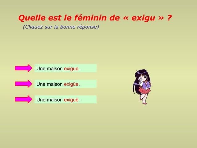 Quelle est le féminin de « exigu » ? (Cliquez sur la bonne réponse)      Une maison exigue.      Une maison exigüe.      U...