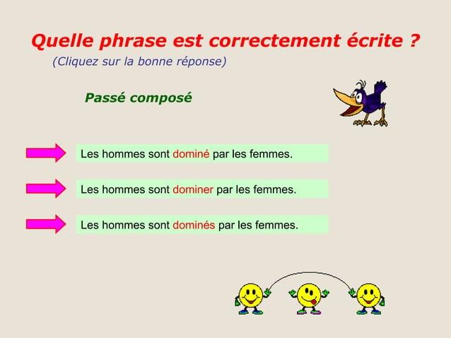 Quelle phrase est correctement écrite ?  (Cliquez sur la bonne réponse)       Passé composé      Les hommes sont dominé pa...