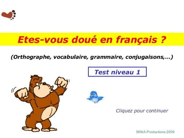 Etes-vous doué en français ?(Orthographe, vocabulaire, grammaire, conjugaisons,…)                           Test niveau 1 ...