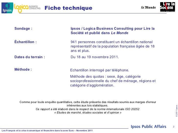 Francais et crise eco et financiere dans la zone euro logica ipsos Slide 2