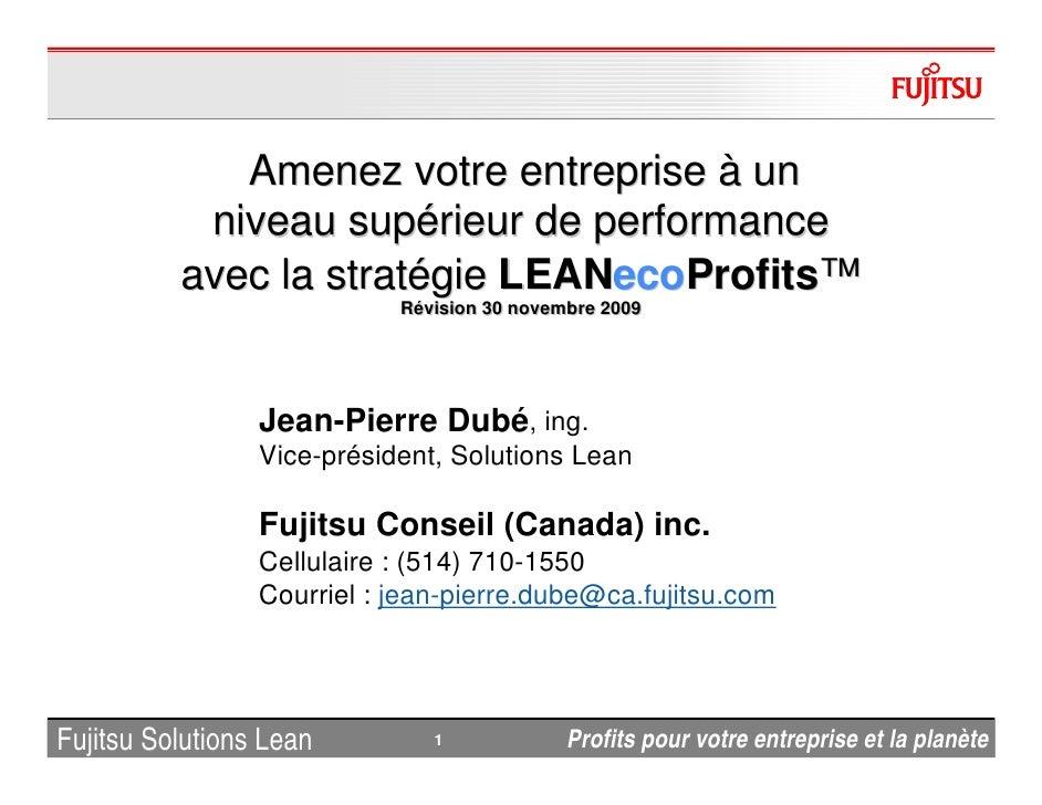 Amenez votre entreprise à un            niveau supérieur de performance           avec la stratégie LEANecoProfits™       ...
