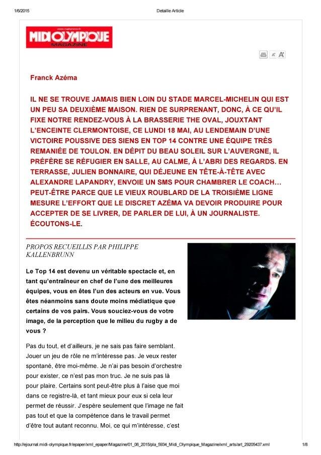 Franck Azema  dans Midol Mag de juin