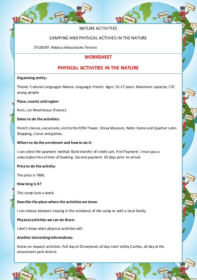 NATURE ACTIVITIES CAMPING AND PHYSICAL ACTIVIES IN THE NATURE STUDENT: Rebeca Velacoracho Tercero WORKSHEET PHYSICAL ACTIV...