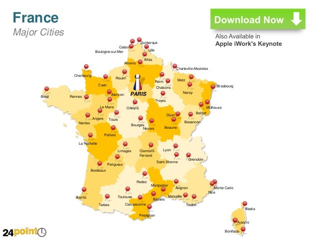 France Editable PPT Map - Major cities in france