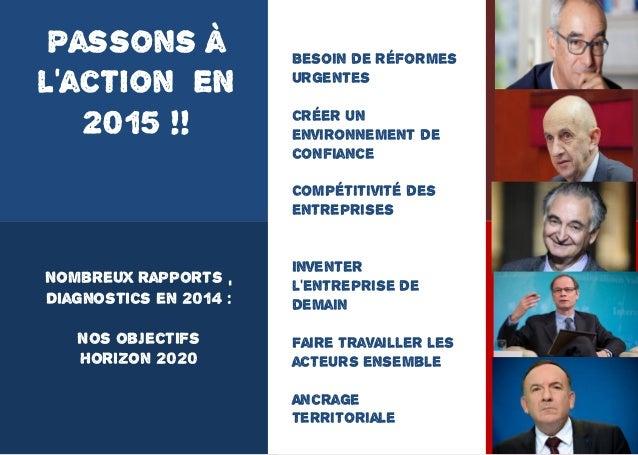 11 Nombreux rapports , Diagnostics en 2014 : Nos objectifs Horizon 2020 Passons à l'action EN 2015 !! Besoin de réformes u...