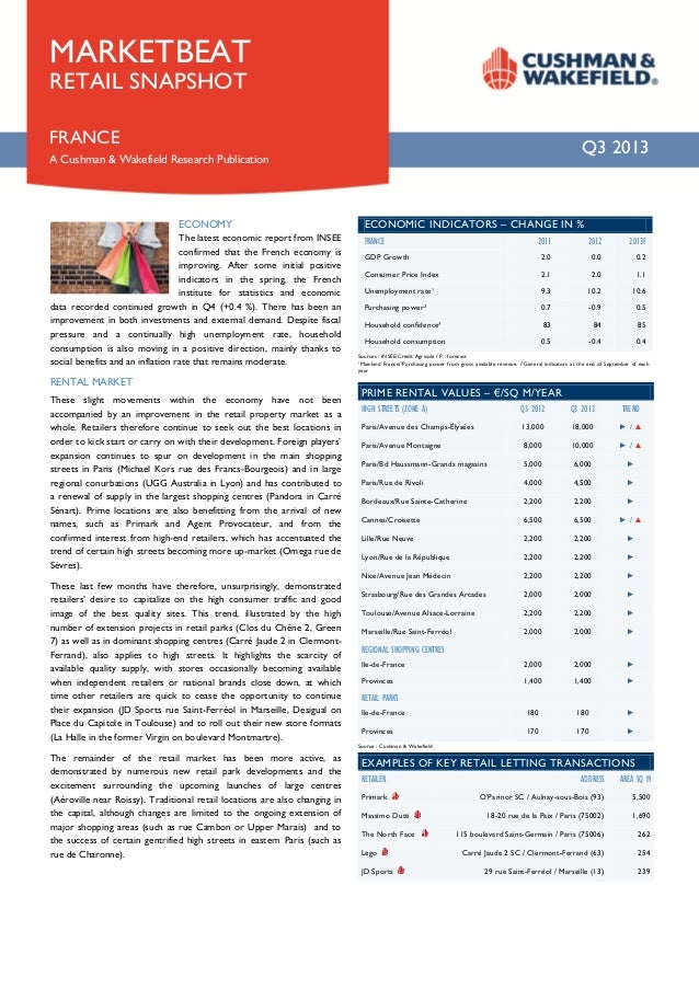 MARKETBEAT RETAIL SNAPSHOT  FRANCE  Q3 2013  A Cushman & Wakefield Research Publication  ECONOMY The latest economic repor...