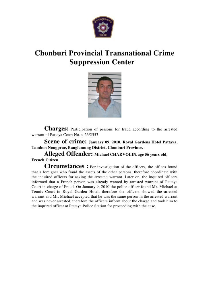 Chonburi Provincial Transnational Crime           Suppression Center            Charges: Participation        of persons f...