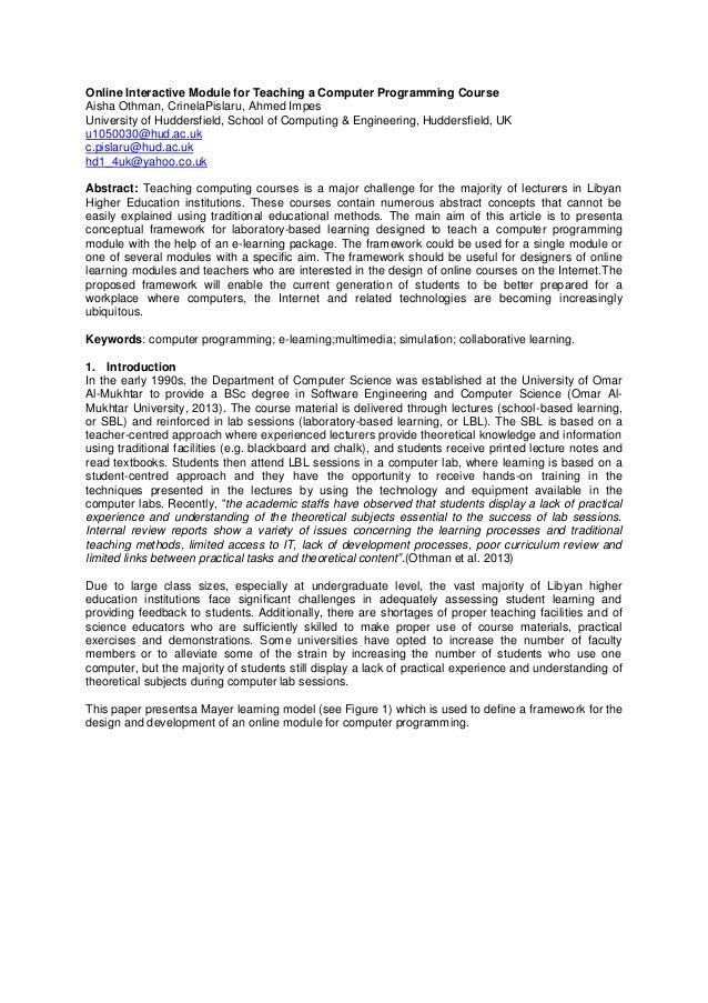 Online Interactive Module for Teaching a Computer Programming Course Aisha Othman, CrinelaPislaru, Ahmed Impes University ...