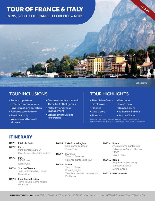 11TOUR OF FRANCE & ITALY                                                                                                  ...