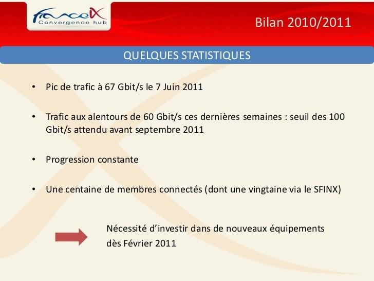 Bilan 2010/2011                       QUELQUES STATISTIQUES•   Pic de trafic à 67 Gbit/s le 7 Juin 2011•   Trafic aux alen...