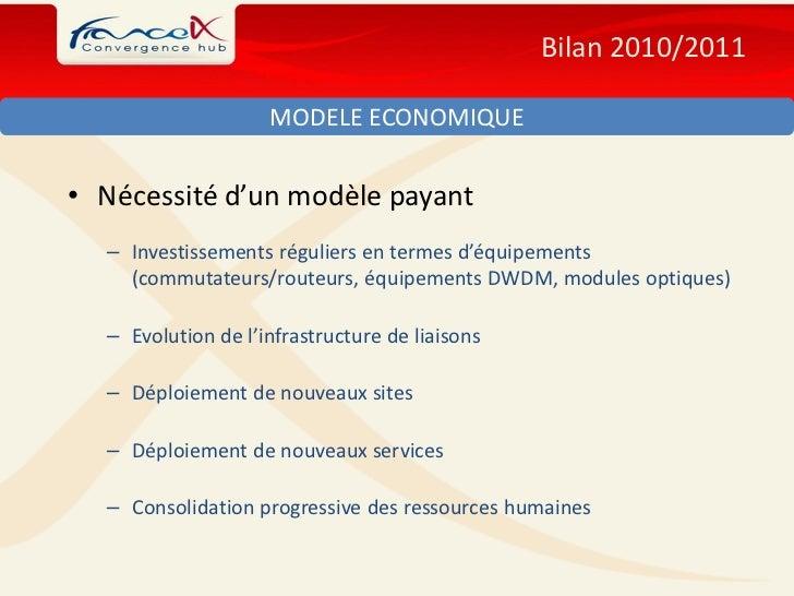 Bilan 2010/2011                    MODELE ECONOMIQUE• Nécessité d'un modèle payant  – Investissements réguliers en termes ...