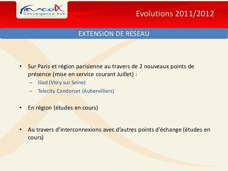 Evolutions 2011/2012                        EXTENSION DE RESEAU•   Sur Paris et région parisienne au travers de 2 nouveaux...