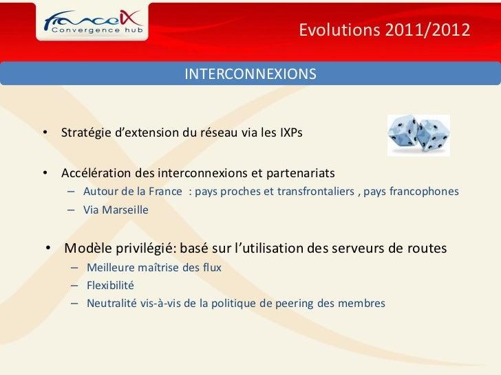 Evolutions 2011/2012                           INTERCONNEXIONS•   Stratégie d'extension du réseau via les IXPs•   Accéléra...