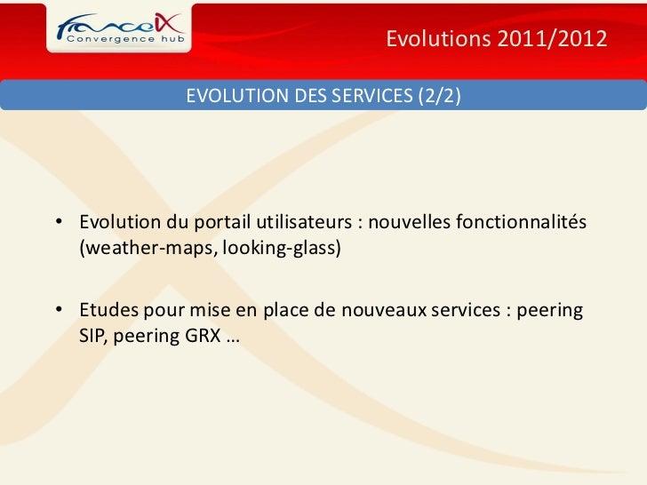 Evolutions 2011/2012               EVOLUTION DES SERVICES (2/2)• Evolution du portail utilisateurs : nouvelles fonctionnal...