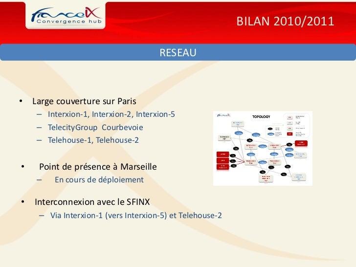 BILAN 2010/2011                                       RESEAU•   Large couverture sur Paris     – Interxion-1, Interxion-2,...