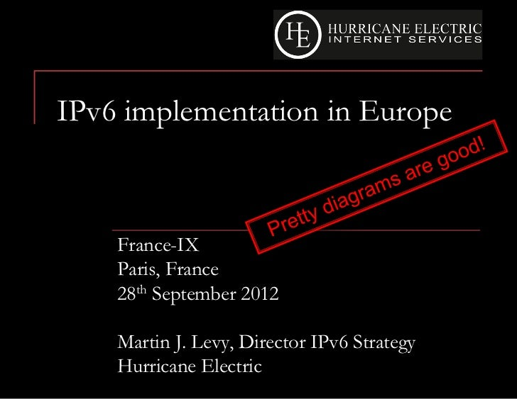 IPv6 implementation in Europe    France-IX    Paris, France    28th September 2012    Martin J. Levy, Director IPv6 Strate...