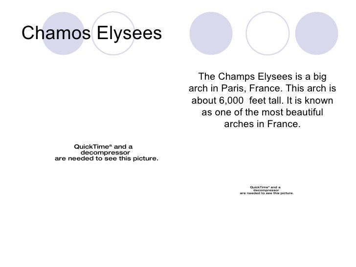 Chamos Elysees The Champs Elysees is a big arch in Paris, France. This arch is about 6,000  feet tall. It is known as one ...