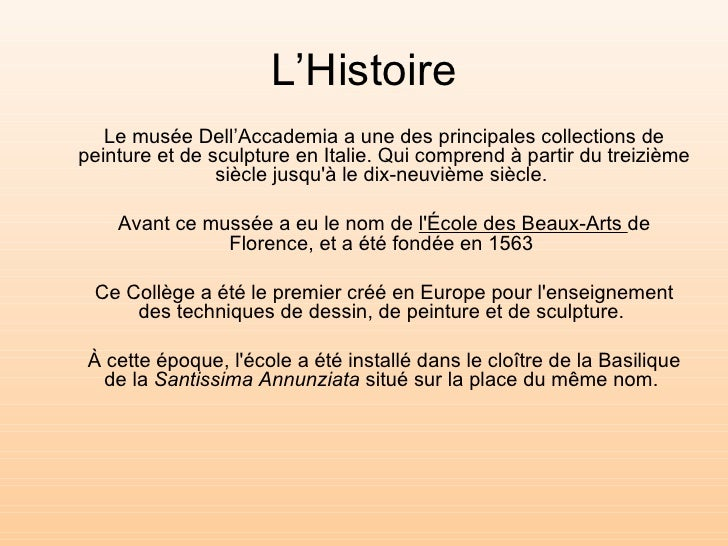 "Le musée ""Dell'Accademia"" Slide 2"