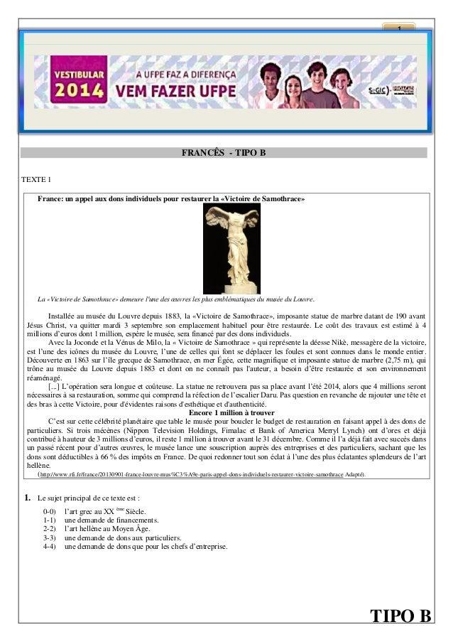 1  FRANCÊS - TIPO B TEXTE 1 France: un appel aux dons individuels pour restaurer la «Victoire de Samothrace»  La «Victoire...