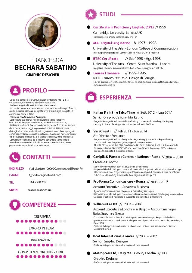 FRANCESCA BECHARA SABATINO GRAPHIC DESIGNER OPROFILO-- Opero nel campo della Comunicazione Integrata ATL- BTL, il corporat...