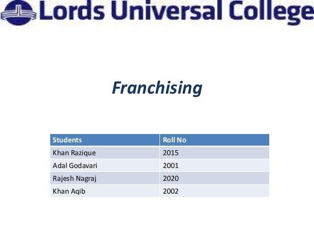 FranchisingStudents              Roll NoKhan Razique          2015Adal Godavari         2001Rajesh Nagraj         2020Khan...