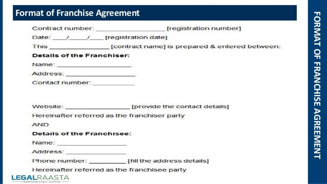 FORMATOFFRANCHISEAGREEMENT Format Of Franchise Agreement ...