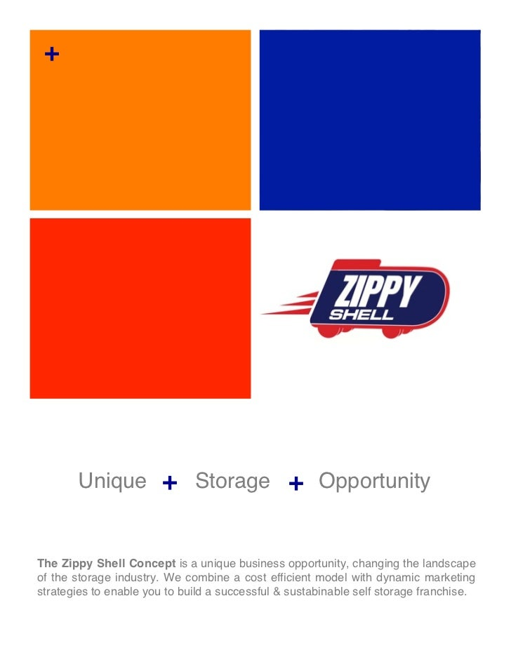 +       Unique + Storage + OpportunityThe Zippy Shell Concept is a unique business opportunity, changing the landscapeof t...