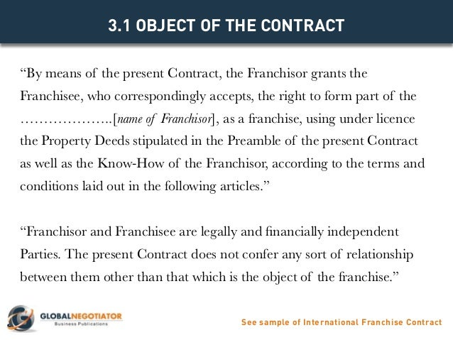 INTERNATIONAL FRANCHISE CONTRACT Contract Template and Sample – Franchise Agreement Template