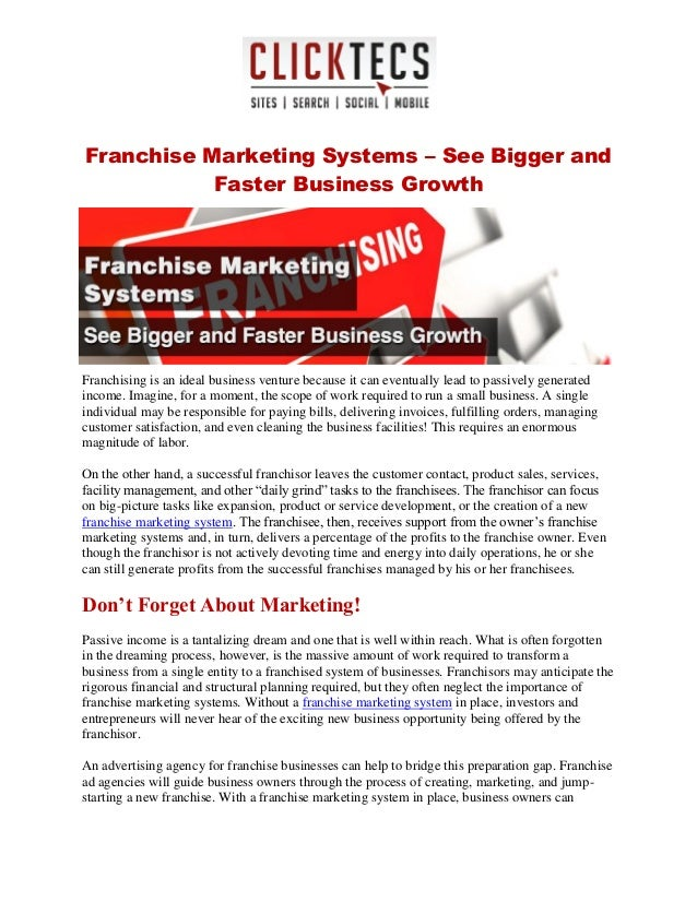 Franchise Marketing Systems – See Bigger and Faster Business Growth Franchising is an ideal business venture because it ca...