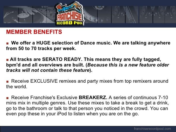 Franchise Record Pool #1 Online Digital DJ MP3 Record Pool Store