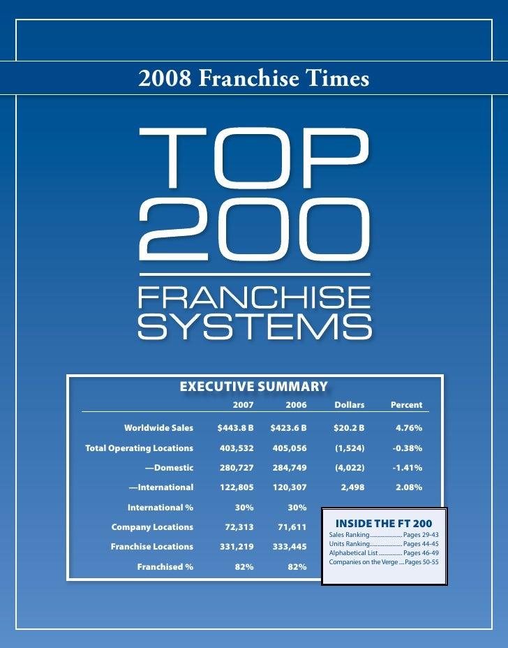 2008 Franchise Times                          EXECUTIVE SUMMARY                                2007       2006      Dollar...