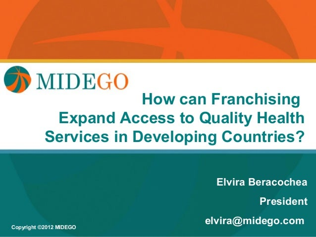 Title Page Franchising                             How can            Expand Access to Quality Health           Services i...