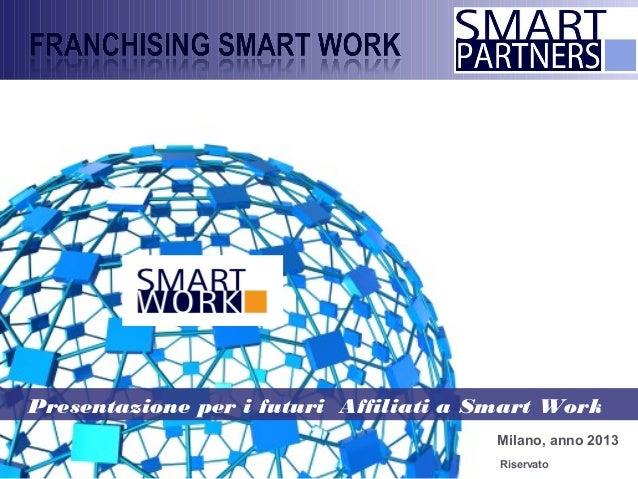 Milano, anno 2013 Presentazione per i futuri Affiliati a Smart Work Riservato