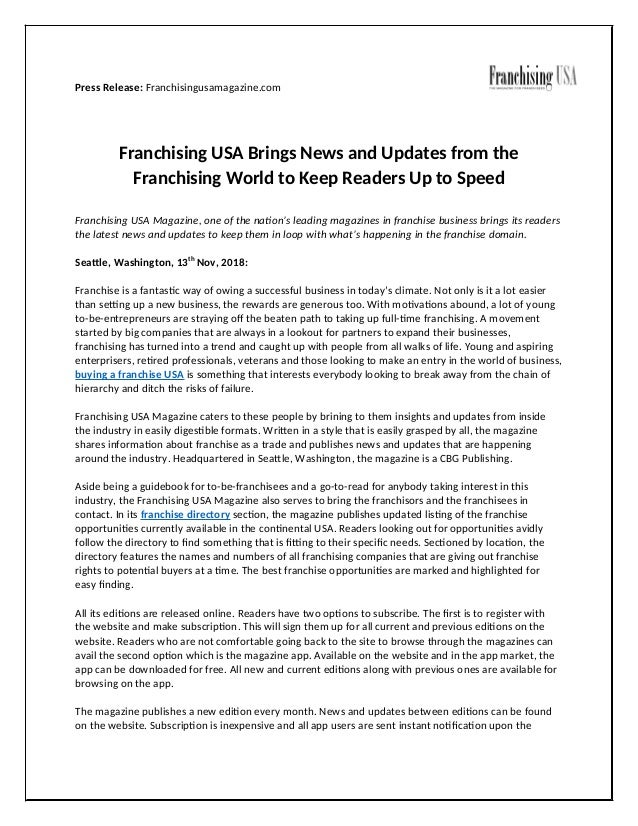 Press Release: Franchisingusamagazine.com Franchising USA Brings News and Updates from the Franchising World to Keep Reade...
